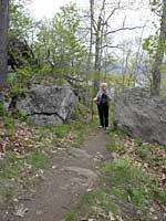 A hiker on Mount Tom
